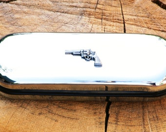 Revolver Metal Pen Case & Ball Point Set Personalisable Gift