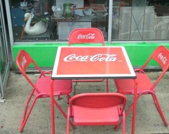 Antique 1950s Coca-Cola porcelain top table & four metal chairs rare collectible