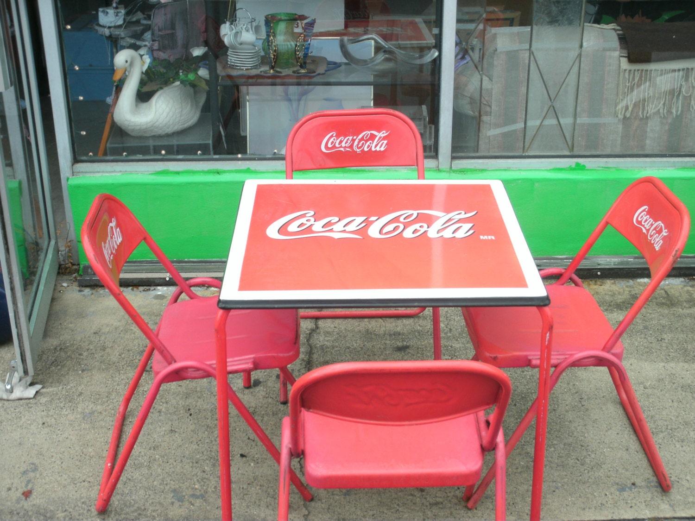 Antique 1950s coca cola porcelain top table four metal - Coca cola table and chairs set ...