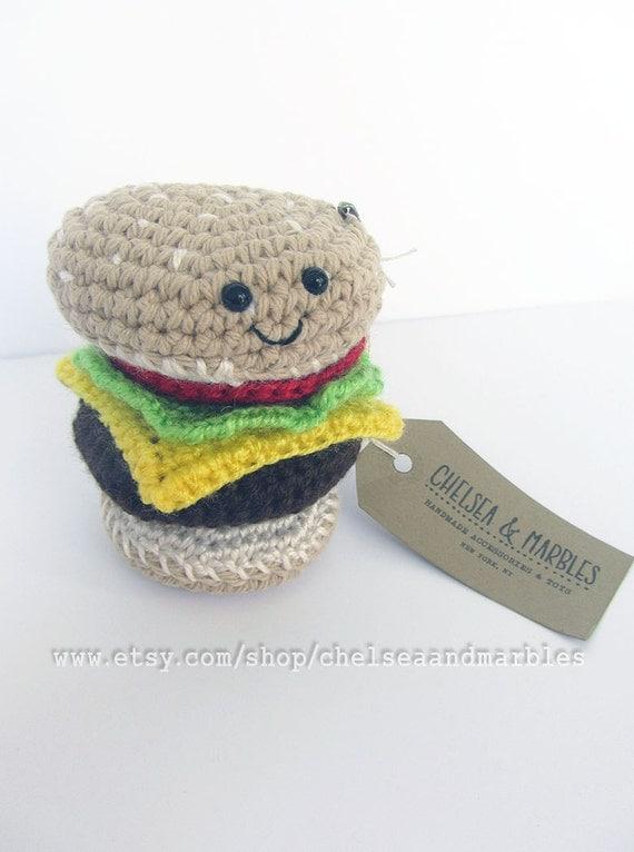 Handmade Crochet Amigurumi Play Food Cheeseburger with