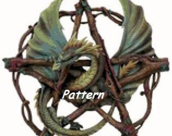 Dragon Pentagram. Cross Stitch Pattern. PDF Files.