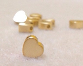 5 heart side hole charm 18k goldfilled great for stamping