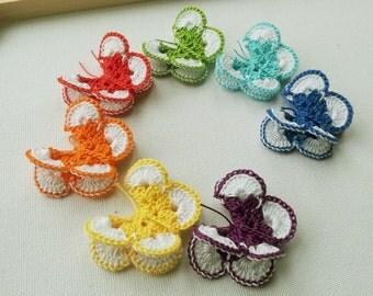 Crochet Butterfly Appliques rainbow colours 7pcs 2'' wide