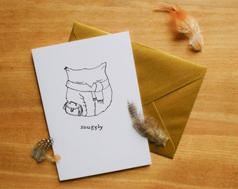 Snuggly Owl Illustrated card