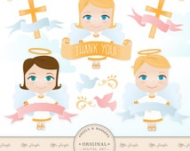 Premium Angel Clip Art / Christian Clip Art / Baptism Clip Art for Scrapbooking, Crafting, Invitations, Web - Cute Angels, Cute Angel