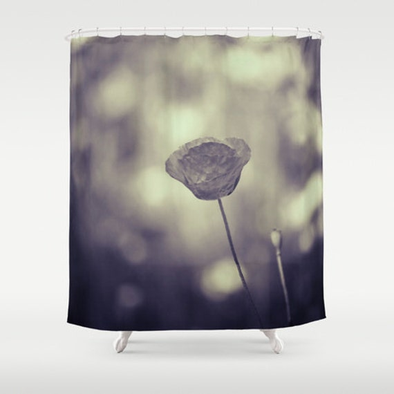 Black White Flower Shower Curtain Washable Fabric Nature