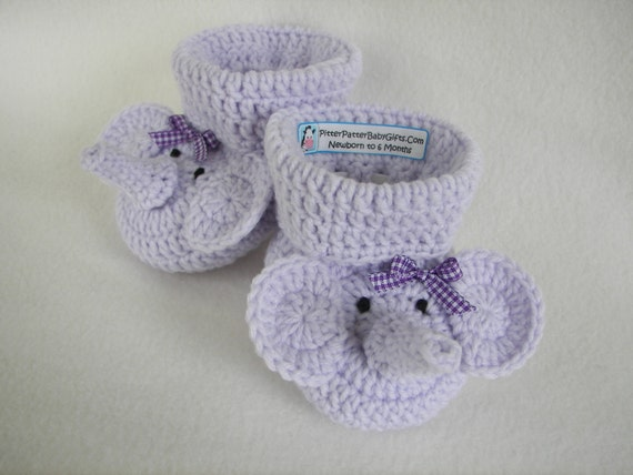 Crochet Pattern Baby Booties Elephant Instant Download Size