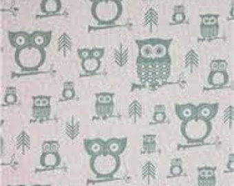 """DISCONTINUED Premier Prints Hooty Owls Village Blue  54"""" wide Fabric by the yard cotton decorator fabric FAST SHIPPING"""