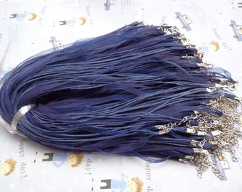 50 pcs 17-19 inch adjustable royal blue voile ribbon/waxed cotton necklace cords with lobster clasps and 2 inch extender