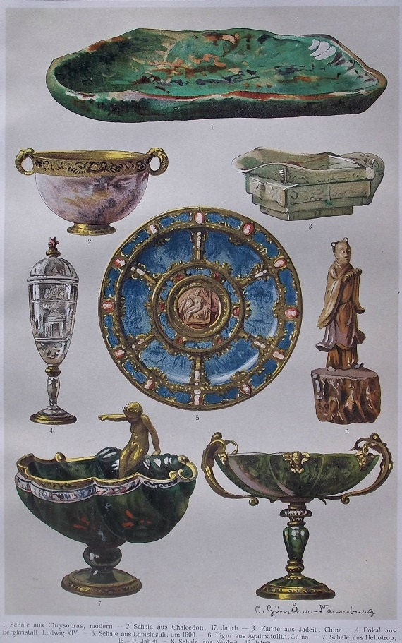 Antique jewels. Old book plate. 1904. Color print. Antique illustration.