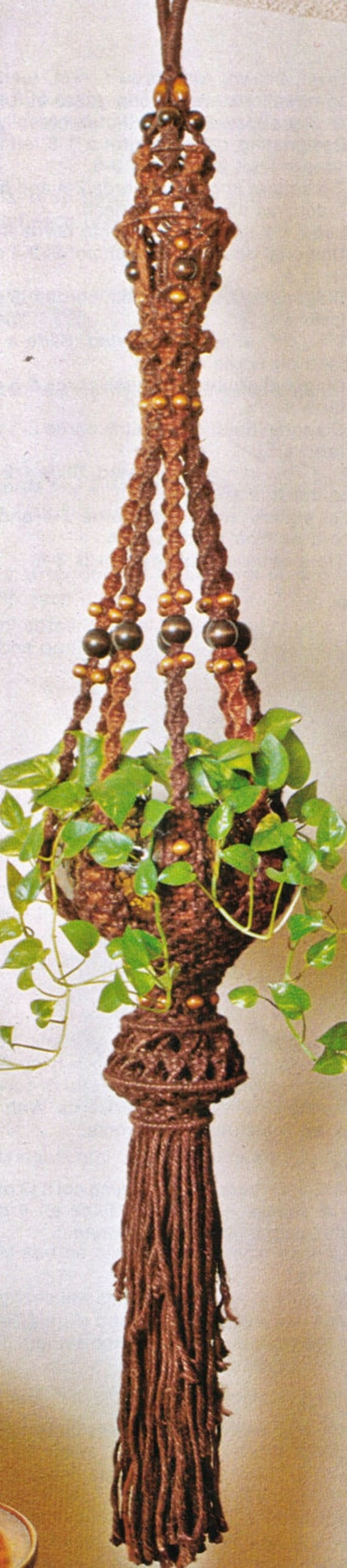 macrame patterns hanging basket vintage 1970 s retro macrame hanging pot plant holder or 5132