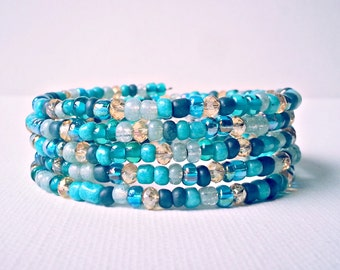 Memory wire bracelet. Turquoise and gold seed beads with swarovski crystals. Wrap bracelet