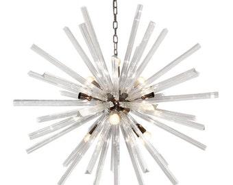 Italian Murano Glass clear triedro Sputnik chandelier