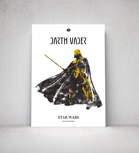 Star Wars. Wall art decor. Picture Darth Vader. Fingerprint. Printable art. Illustration. Digital print. Instant digital download