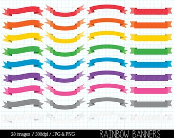 Banners Clipart, Banner Clip art, Bright Colored Banners, Rainbow Ribbons, Doodle Banners - Personal & Commercial - BUY 2 GET 1 FREE!