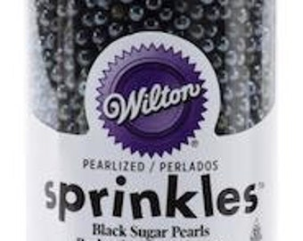 Wilton Black Sugar Pearls - edible sprinkles cake, cupcakes, cookies, cake pop decorations