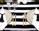 Chic, Ultra Modern, Black and White Stripe Tablecloth