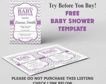 template free microsoft word template baby shower purple chevron