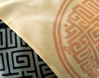 Chinese Trigram of Health, Wealth, Success Table Runner. Prosperity Increase.. Feng Shui brings You Luck! Black/ grey, Cream/ peach