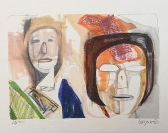 Original drawing/ faces/ watercolor/ pencil