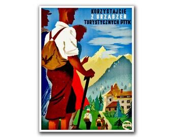 Travel Poster Swiss Retro Art Hiking Decor Print (H154)
