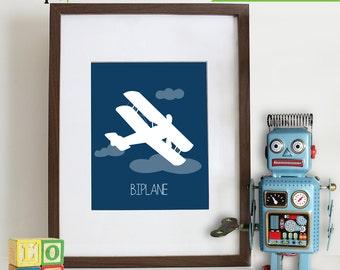 Transportation Prints, Airplane Print, Biplane Print, Aviation,  Item 009