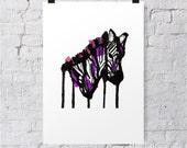 Zebra animal zoo A4 print/poster/wall art - illustration