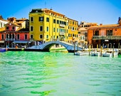 Venice photography, Venice steet, canal Grande, colorful old buildings, water, bridge, travel photography, wall art, beautiful home decor