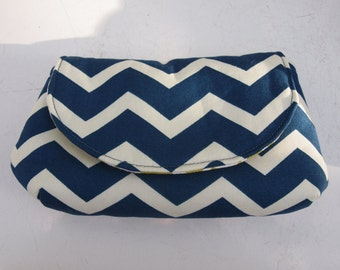Navy and White Chevron Clutch