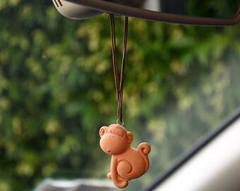 Ceramic powder car Air Freshener  - Hand made Scent diffuser - The Naughty Monkey