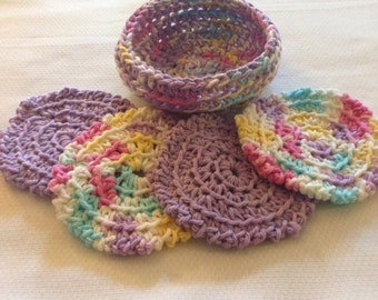 Handmade 100% Cotton Facial Scrubbies (4) in Basket - Washable FREE SHIPPING!