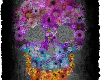 Sugar Skull-Flowers In Bloom Candy Skull Of Flowers