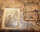 Miniature CDV type photograph Young boy or girl in Edwardian Dress Style ~ Un-attached brass mat