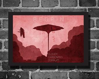 Star Wars Bespin movie poster minimalist poster star wars art travel poster