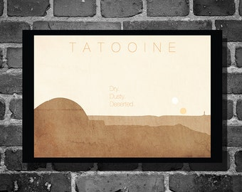 Star Wars Tatooine movie poster minimalist poster star wars art travel poster
