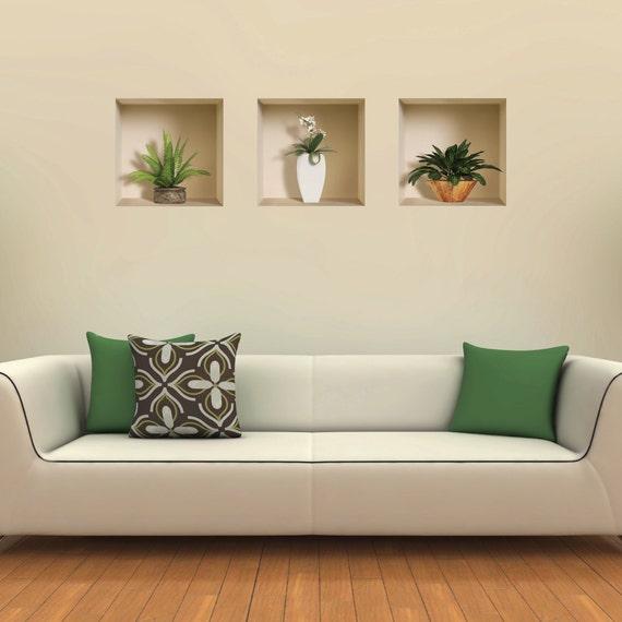 Livraison gratuite lot de 3 pot et vase wall stickers 3d art for Stickers murali 3d