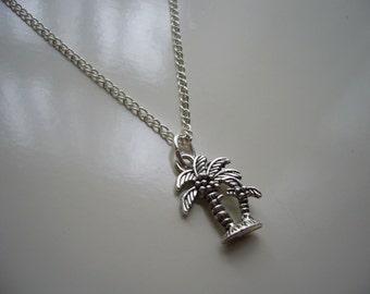Palm Tree Necklace - Antique Silver Palm Tree Necklace - Tree Necklace- Palm Pendant Charm - Miniature Palm Tree- Nickel Free