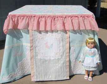 Card table playhouse with matching doll dress