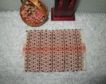 """Handwoven dollhouse rug, peach, brown, rust, white, 3x5"""""""