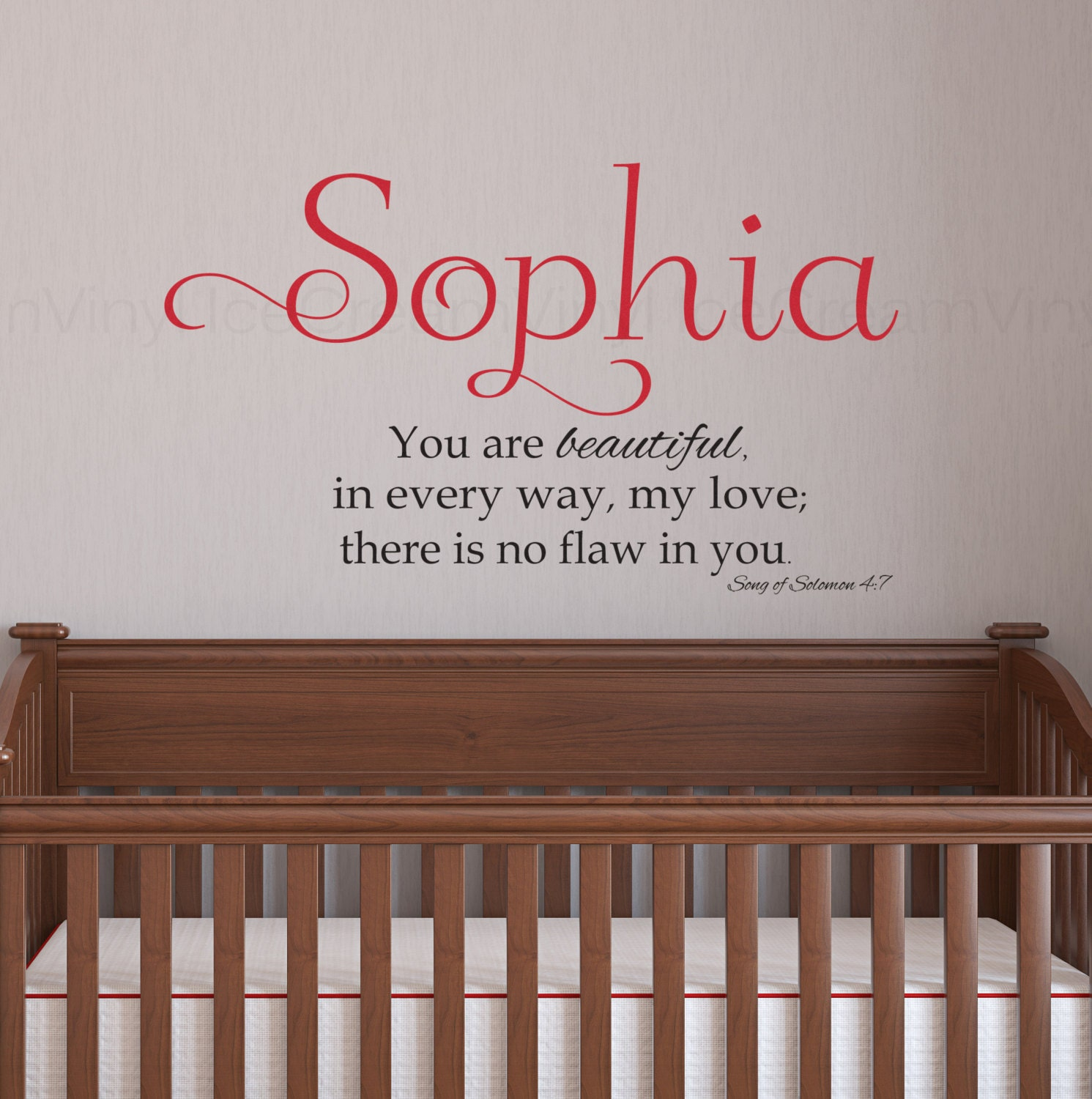 personalized scripture wall decal song of solomon 4 7 wall art. Black Bedroom Furniture Sets. Home Design Ideas