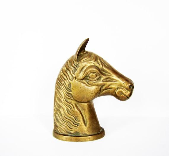 Vintage solid brass horse head statue by plaidoliversvintage