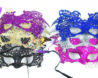 Bulk 50 pcs Bling Sparking Mardi Gras Masquerade Eye Mask Adjustment