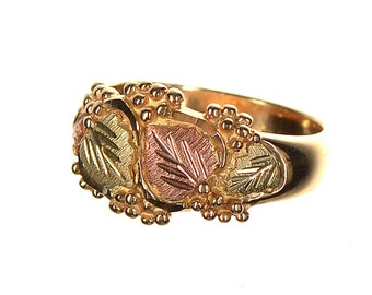 10k multi-colored gold grapes & leaves design ring