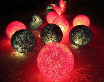 Green & Red Cotton Ball Party/Patio/Christmas String Lights