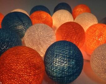 Blue Orange White Wedding Cotton Ball String Lights