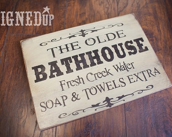 Olde Bathhouse Wood Sign