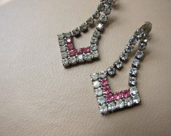 Vintage Pink and Clear Chevron Rhinestone Post Earrings