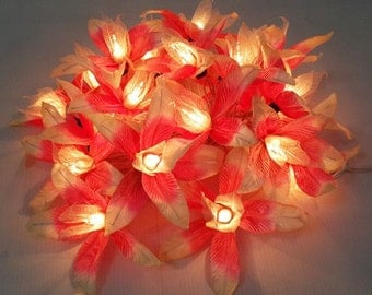 handmade cute pink white lily string lights  20 flowers party patio fairy decor wedding bedroom living room gift
