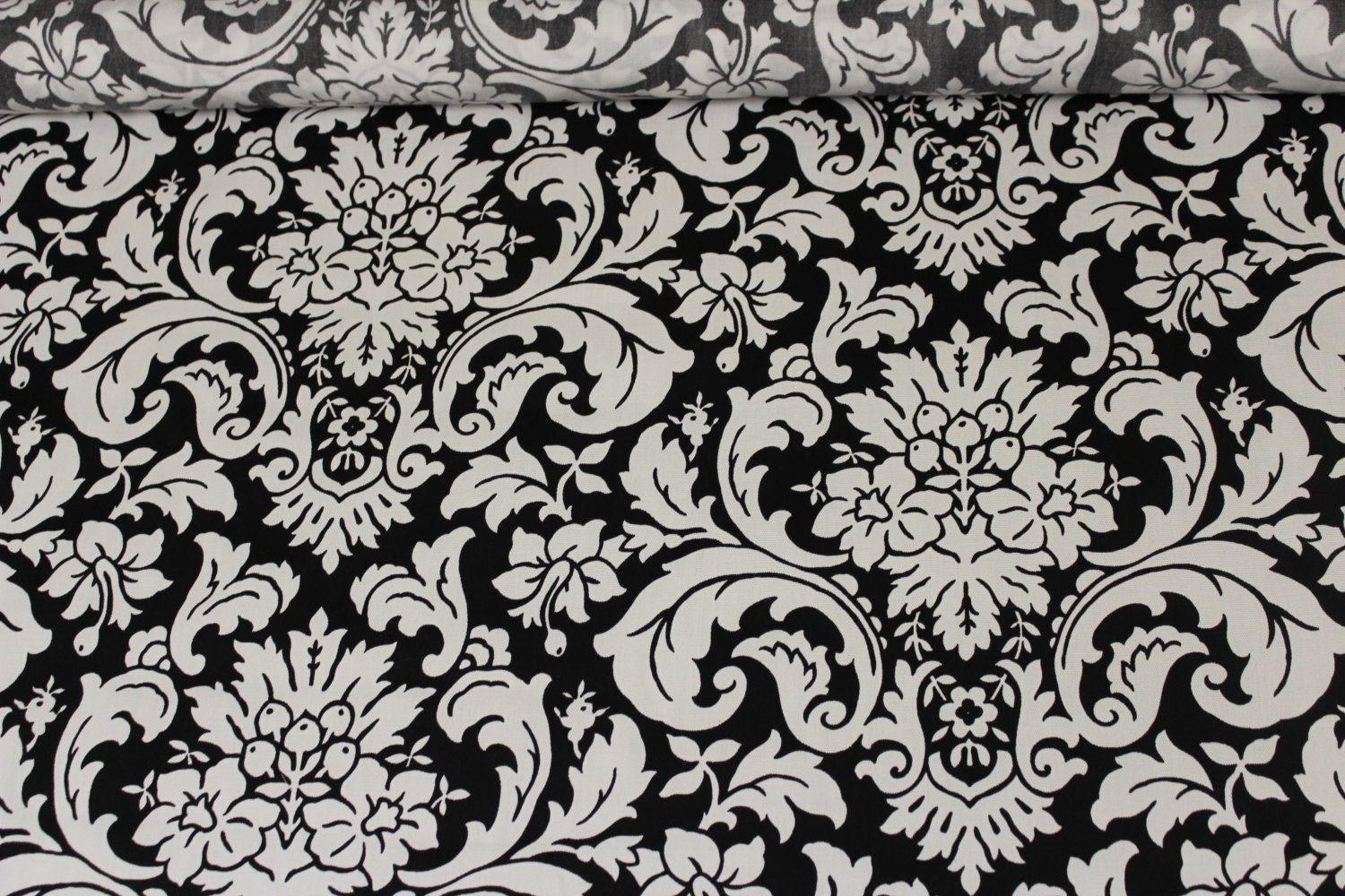 Black and white damask fabric by the yard 010 for Black and white fabric