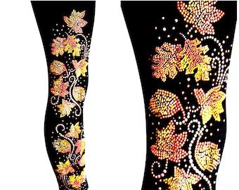 Plus Size Full Length Leggings Embellished Rhinestone Autumn Leaves Design